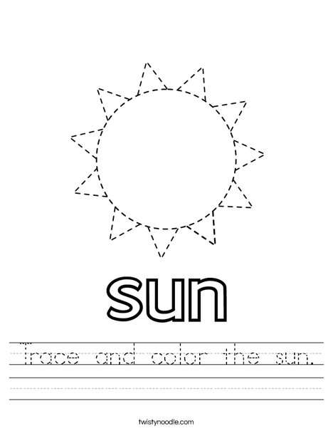 Trace and color the sun. Worksheet