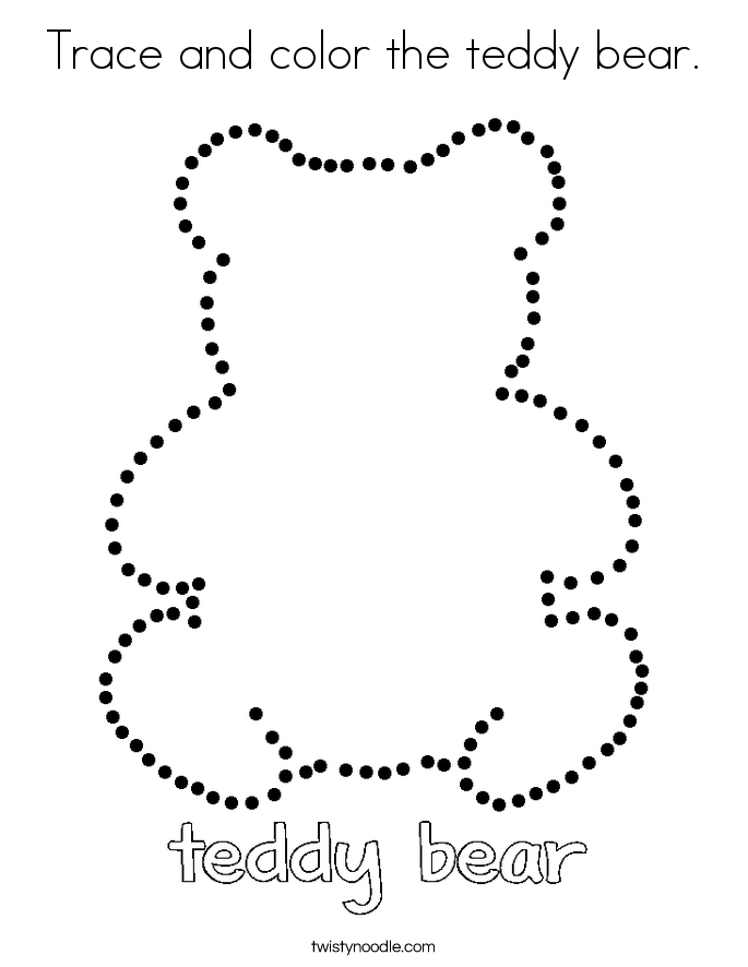 Trace and color the teddy bear. Coloring Page