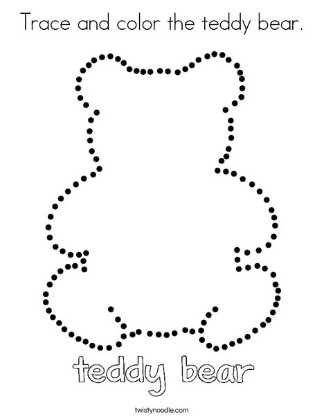 Trace and color the teddy bear Coloring Page - Twisty Noodle