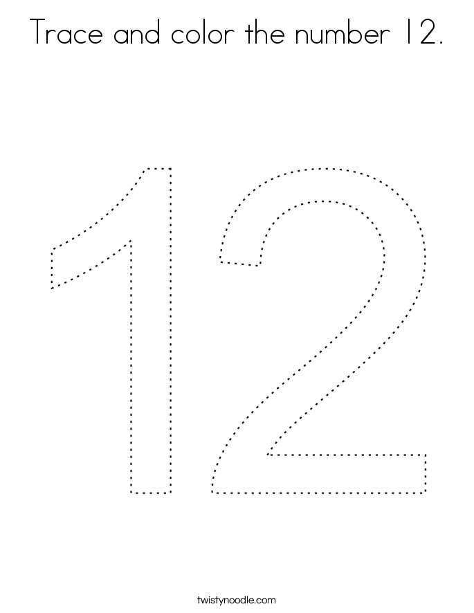 Trace and color the number 12. Coloring Page