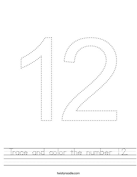 Trace and color the the number 12. Worksheet