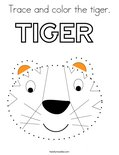 Trace and color the tiger. Coloring Page