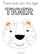 Trace and color the tiger Coloring Page