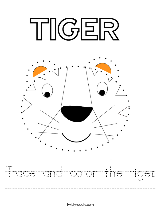 Trace and color the tiger. Worksheet