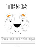 Trace and color the tiger Handwriting Sheet