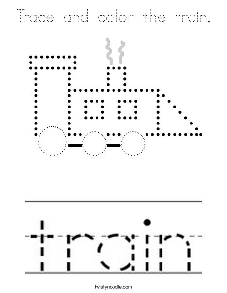 Trace and color the train. Coloring Page