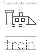 Trace and color the train Coloring Page