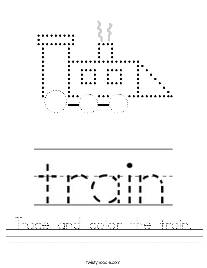 Trace and color the train. Worksheet