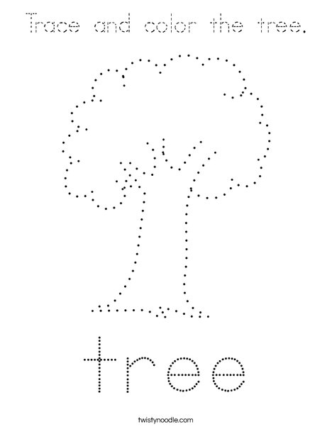 Trace and color the tree. Coloring Page