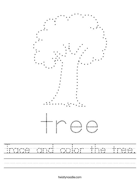 Trace and color the tree. Worksheet