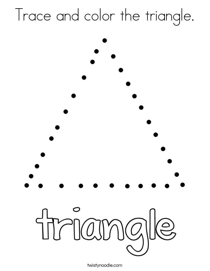 Trace and color the triangle Coloring Page Twisty Noodle