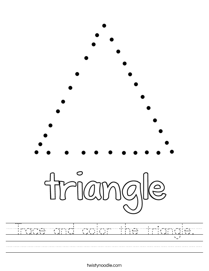 Trace and color the triangle Worksheet Twisty Noodle – Triangle Worksheet