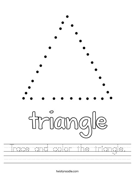 Trace and color the triangle Worksheet - Twisty Noodle