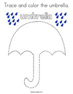 Trace and color the umbrella Coloring Page