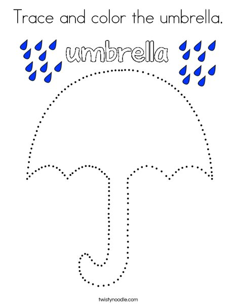 Trace and color the umbrella. Coloring Page