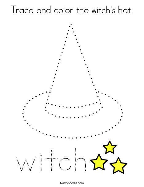 Trace and color the witch's hat. Coloring Page