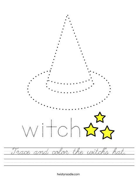 Trace and color the witch's hat. Worksheet