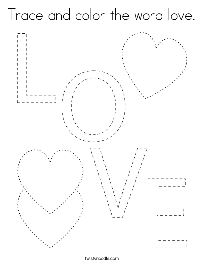 Trace and color the word love. Coloring Page