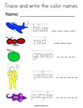 Trace and write the color names. Coloring Page