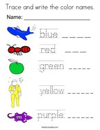Trace and write the color names Coloring Page