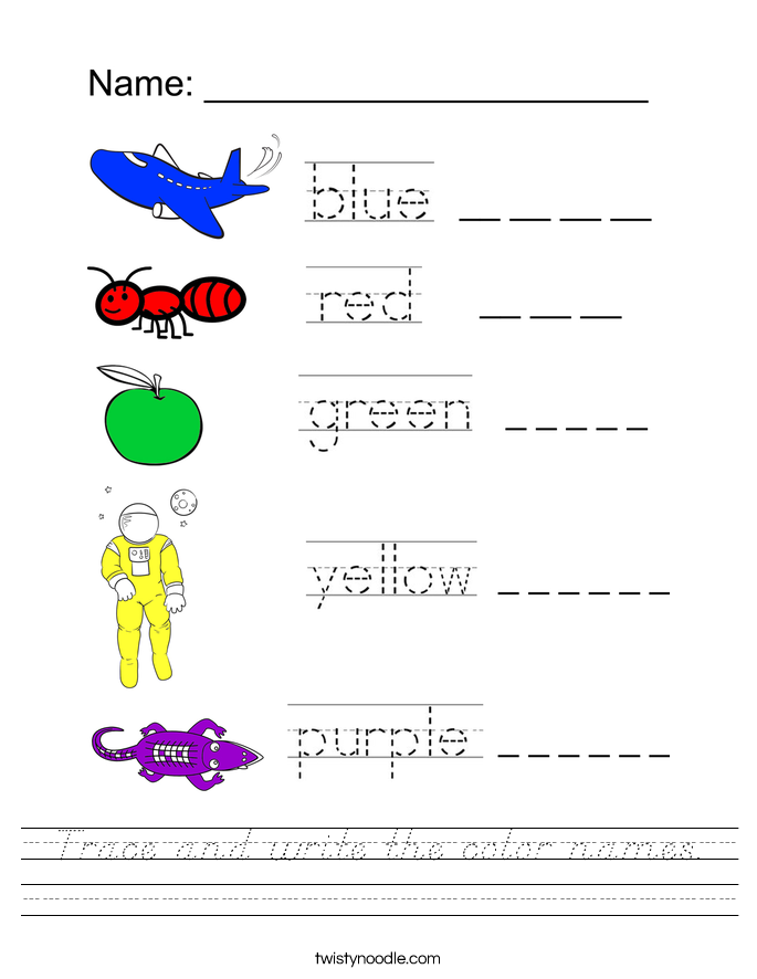 Trace and write the color names. Worksheet
