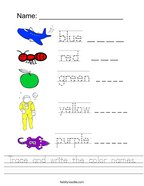 Trace and write the color names Handwriting Sheet