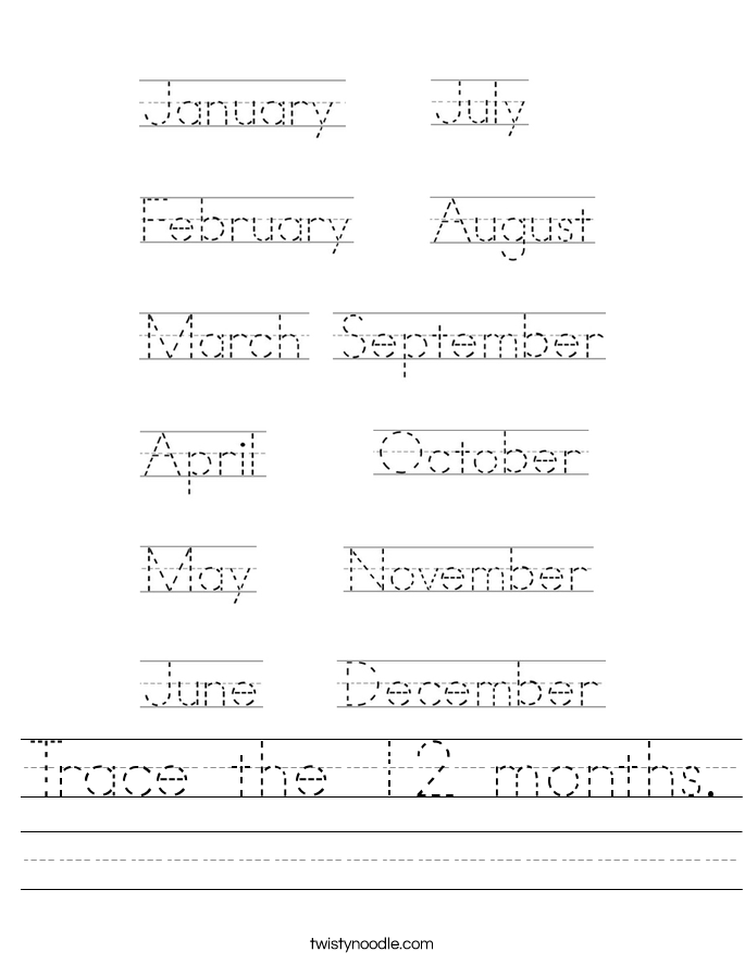 Trace the 12 months. Worksheet