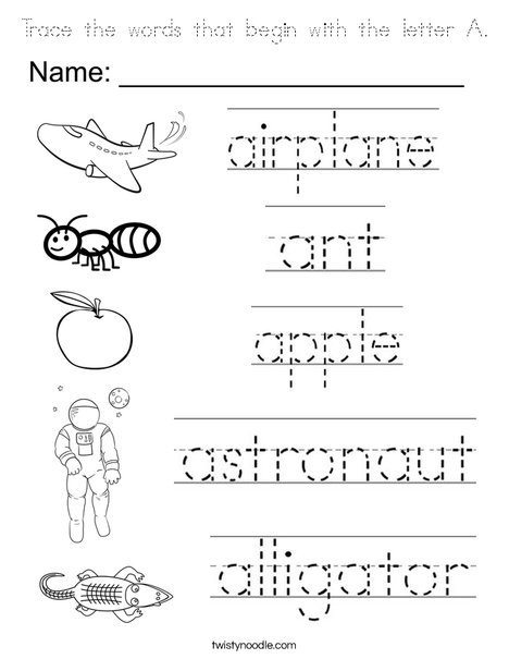 Trace the A words Coloring Page