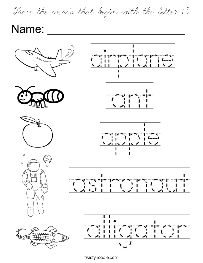 words that begin with the letter b trace the words that begin with the letter a coloring page 25717 | trace the words that begin with the letter a coloring page cursive