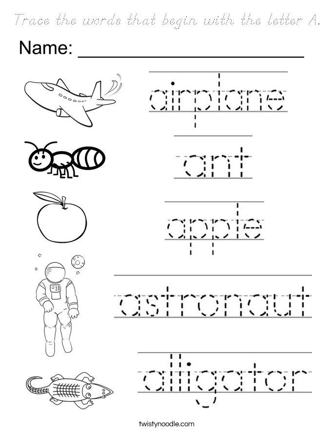 Trace the words that begin with the letter A. Coloring Page