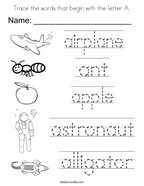 Trace the words that begin with the letter A Coloring Page