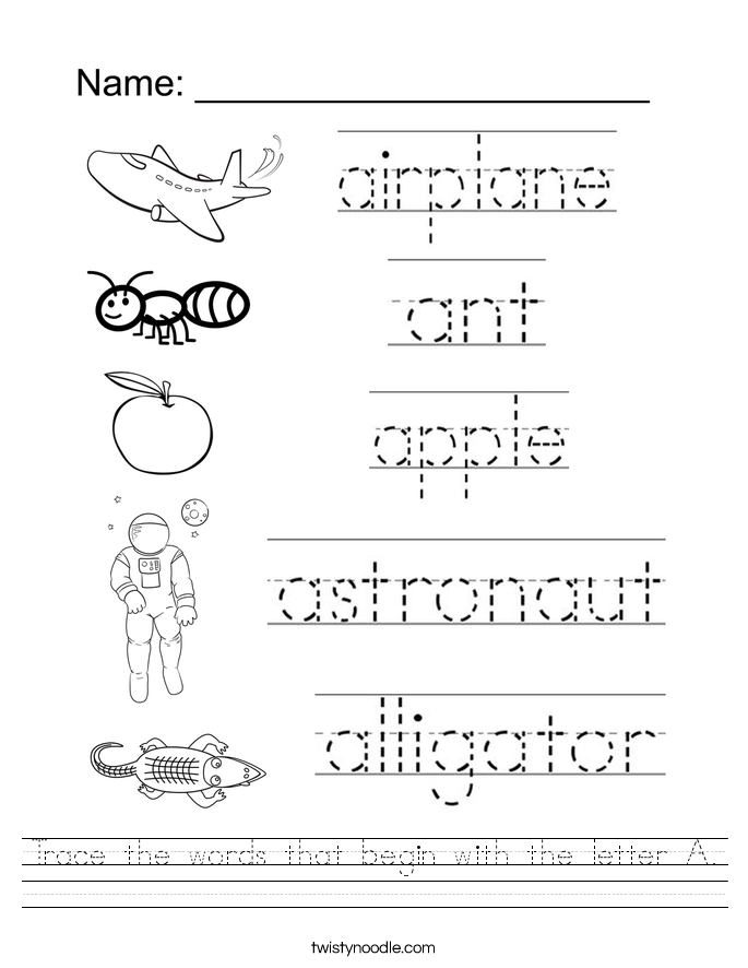 Trace the words that begin with the letter A. Worksheet