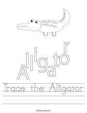 Trace the Alligator Handwriting Sheet