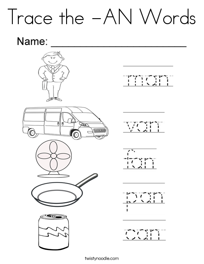 Trace the -AN Words Coloring Page