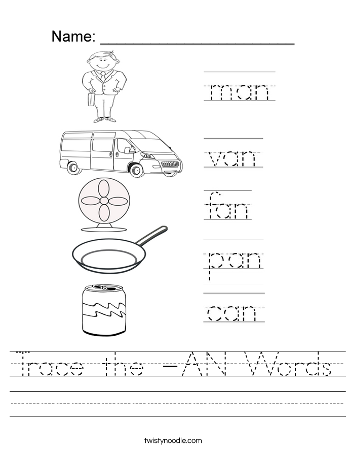Trace the -AN Words Worksheet