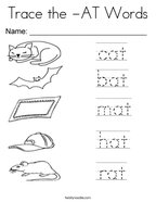 Trace the -AT Words Coloring Page