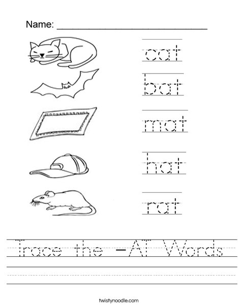Trace the -AT words Worksheet