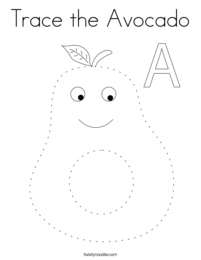 Trace the Avocado Coloring Page