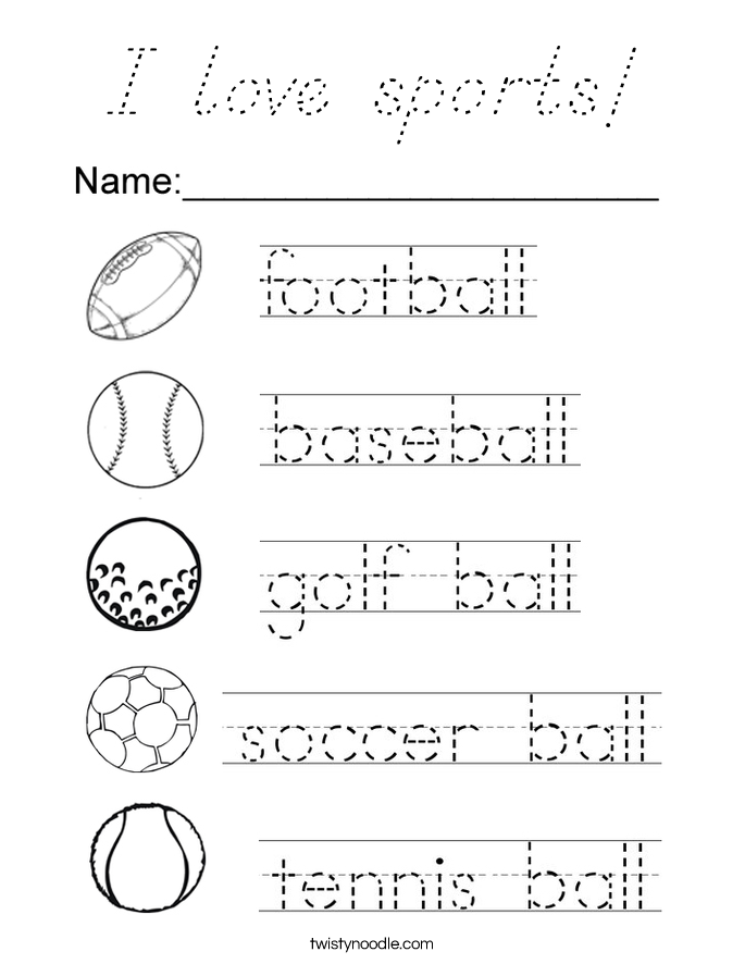I love sports! Coloring Page