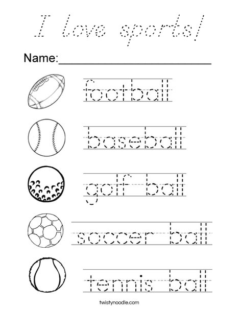 Trace the Ball Words Coloring Page