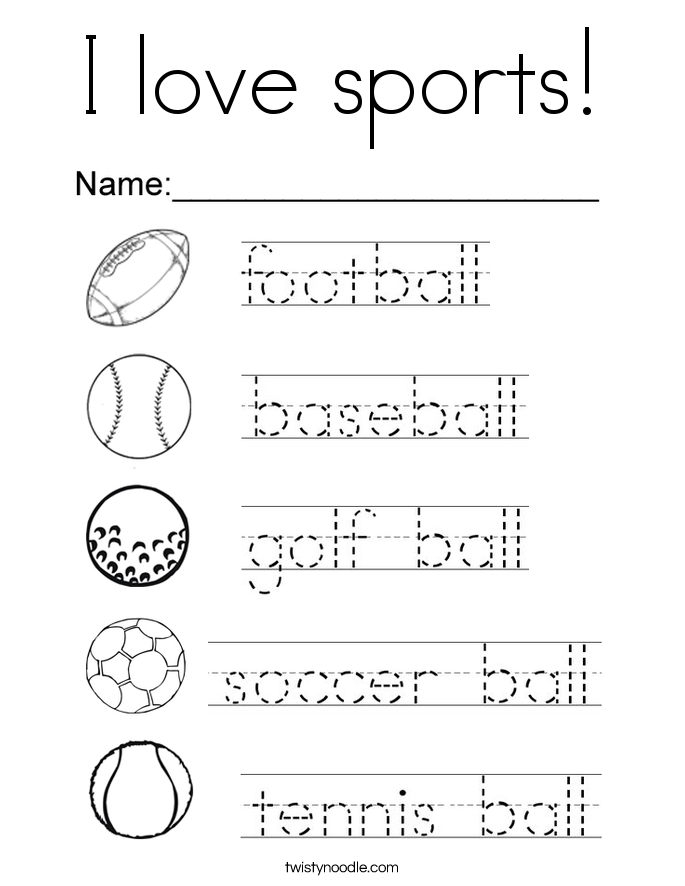 I love sports Coloring Page - Twisty Noodle