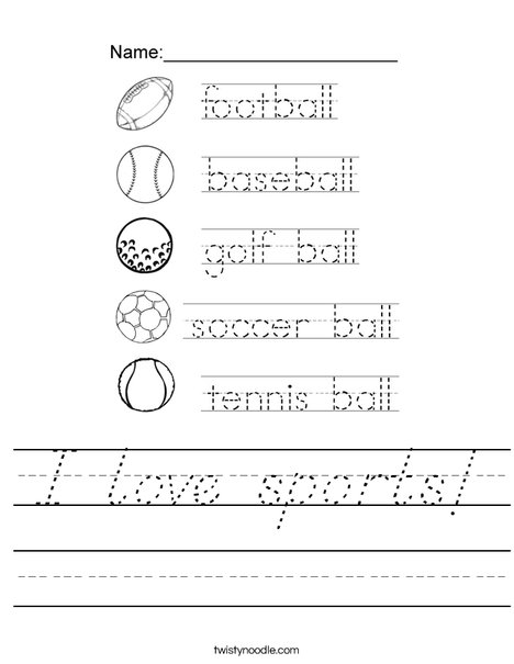 Trace the Ball Words Worksheet