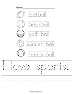 I love sports Handwriting Sheet