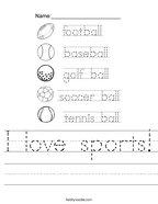 I love sports Handwriting Sheet