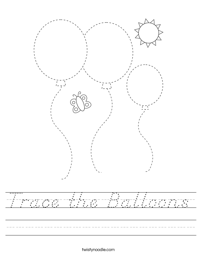 Trace the Balloons Worksheet