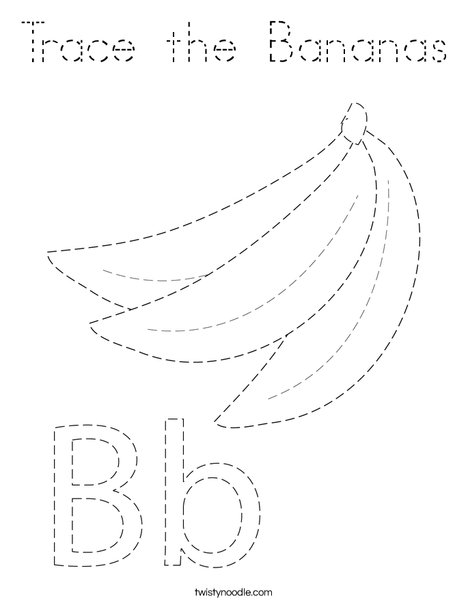 Trace the Bananas  Coloring Page