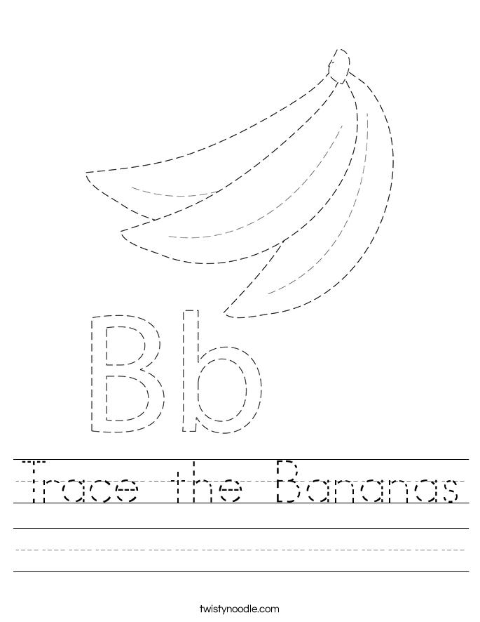 Trace the Bananas Worksheet