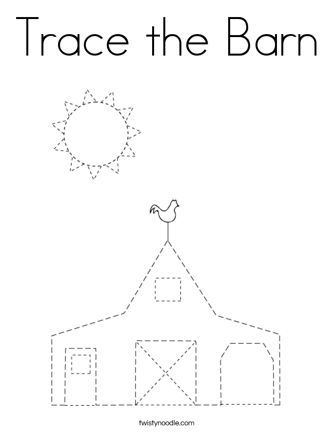 Trace the Barn Coloring Page