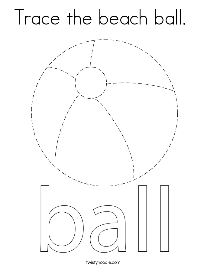 Trace the beach ball.  Coloring Page