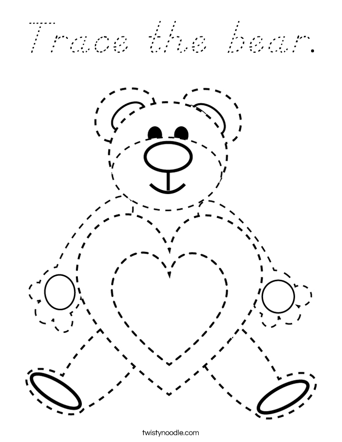 Trace the bear. Coloring Page